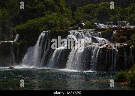Skradinski Buk Waterfall In Krka National Park - Dalmatia Croatia, Europe - Stock Photo