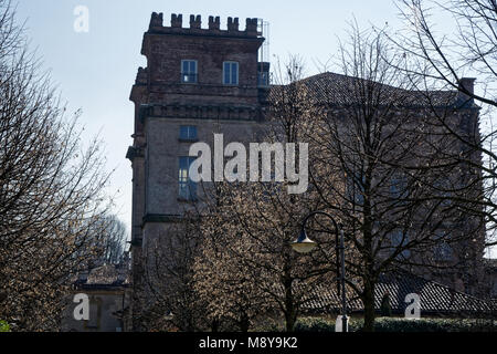 Library, Robecco sul Naviglio, Milan province, Italy, 13 March 2018: Old library in Italy, like castle. - Stock Photo
