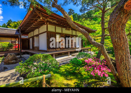 Kannon-Hall at popular landmark Ginkaku-ji Temple or Silver Pavilion in spring season with blue sky. Ginkakuji officially - Stock Photo