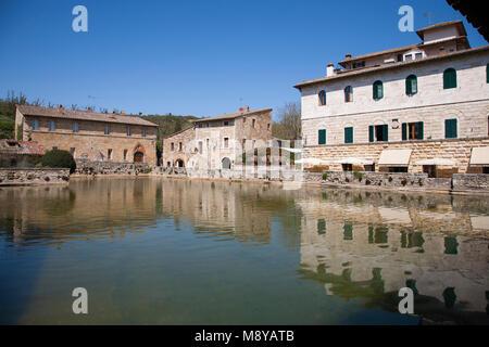 Piazza delle sorgenti, Bagno Pignoni, Val d'Orcia, Siena province, Tuscany, Italy, Europe - Stock Photo