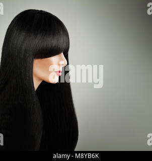 Beautiful Hair Woman. Cute Model Girl with Long Black Hair and Red Lips Makeup, Profile - Stock Photo