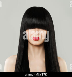 Beautiful Hairstyle Woman Portrait. Model Girl with Long Black Hair and Red Lips - Stock Photo