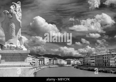 Black and white view of the beautiful sky over the historic center of Pisa, Tuscany, Italy - Stock Photo