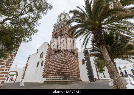 Plaza de la Constitucion with the Iglesia de Nuestra Senora de Guadalupe, Teguise, island of Lanzarote, Canary Islands, - Stock Photo