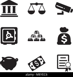 Bank Icons - Stock Photo