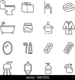 Bathroom or Shower Icons Thin Line Vector Illustration Set - Stock Photo