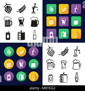 Beer All in One Icons Black & White Color Flat Design Freehand Set - Stock Photo