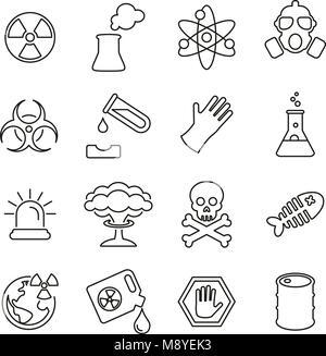 Biohazard or Radioactive Icons Thin Line Vector Illustration Set - Stock Photo