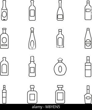 Bottle or Glass Bottle or Liquor Bottle Icons Thin Line Vector Illustration Set - Stock Photo
