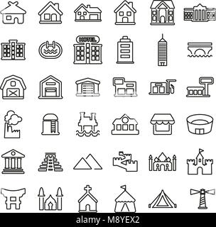 Buildings or Residential & Commercial Buildings Icons Thin Line Vector Illustration Set - Stock Photo