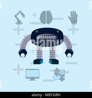 Robot with artificial intelligence related icons over blue background, colorful design vector illustration - Stock Photo