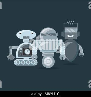 Robotic design with cartoon robots over gray background, colorful design vector illustration - Stock Photo