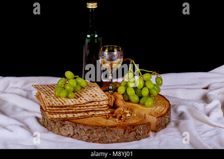 Symbols Of Passover Background Wine And Matzoh Jewish Holiday Bread