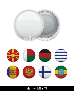 Arranged blank badge with set of various emblems and country flags on white. - Stock Photo