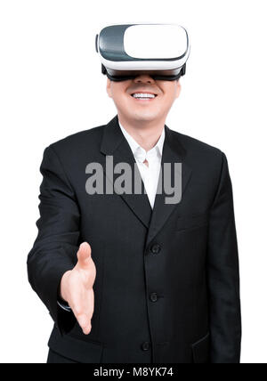 Close up of businessman in a formal wear and virtual reality glasses. - Stock Photo