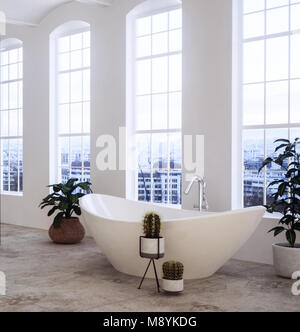 Contemporary oval ceramic bathtub and houseplants in a spacious airy loft conversion bathroom with tall windows - Stock Photo