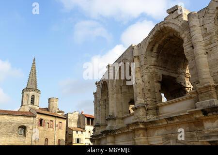 Roman amphitheater, Arenes bullring, Arles, Provence-Alpes-Cote d'Azur, France - Stock Photo
