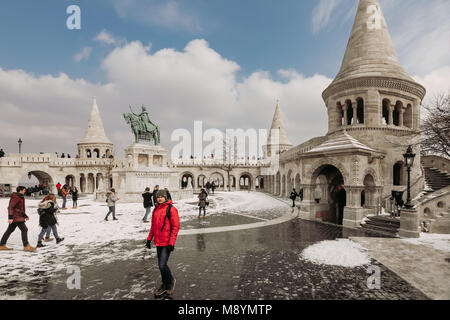 BUDAPEST, HUNGARY - March 01, 2018: Fisherman's Bastion at the  Buda Castle District. Famoust tourist centre. - Stock Photo