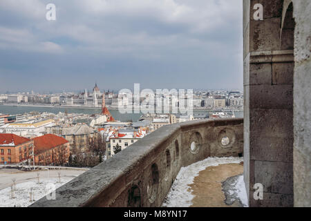 Hungary, Budapest - 01. March 2018. - Aerial view from Fisherman bastion. Budapest panorama. - Stock Photo