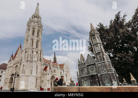 Budapest , Hungary. St. Matthias Church in old part of the city, Buda Castle hill. Real object and model of church. - Stock Photo