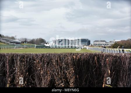 10th March 2018. Aintree Racecourse, Liverpool, UK. View of the course and grandstands  from the course itself. - Stock Photo