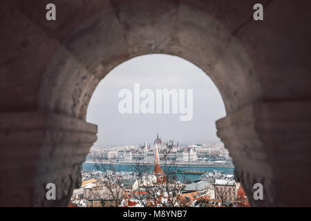 Aerial view of Budapest, Hungary. View from Fisherman's Bastion to Hungarian parliament. - Stock Photo