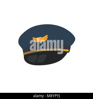 Pilot hat flat design style, isolated on background. - Stock Photo