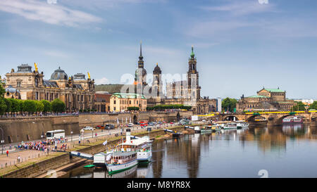 Augustus Bridge (Augustusbrucke) and Cathedral of the Holy Trinity (Hofkirche) over the River Elbe in Dresden, Germany, - Stock Photo
