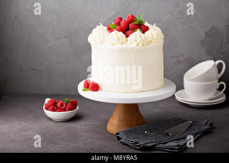Vanilla raspberry cake with white frosting - Stock Photo