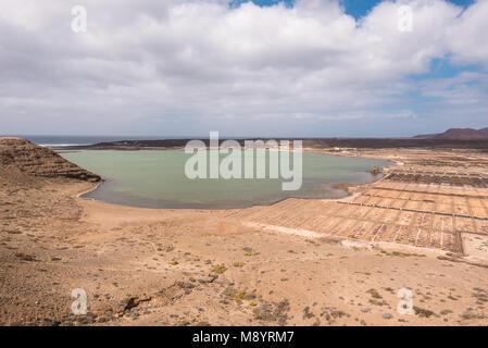 Saltworks of Janubio, Lanzarote, Canary islands, Spain. - Stock Photo