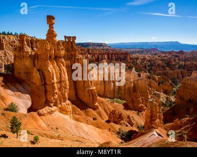 Bryce Canyon National Park Hoodoos and Canyon View, Thor's Hammer - Stock Photo