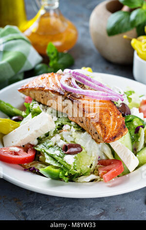 Grilled salmon with fresh salad - Stock Photo