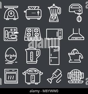 Simple Set of Kitchen Appliances Related Vector Line Icons. - Stock Photo