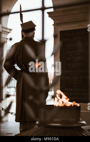 WARSAW, POLAND - Mar, 2018 Guard of honor near Tomb of the Unknown Soldier in Warsaw, Poland. - Stock Photo