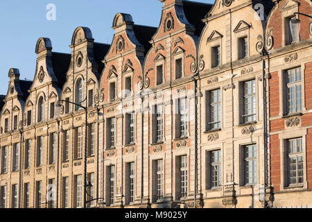 Flemish style facades on Place des Heros, Arras, Pas-de-Calais, Hauts-de-France region, France, Europe - Stock Photo
