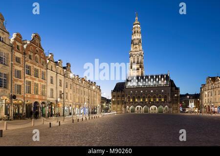 Place des Heros and the Town Hall and belfry floodlit at night, Arras, Pas-de-Calais, Hauts-de-France region, France, - Stock Photo