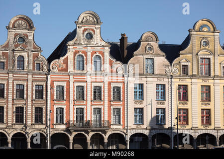 Flemish style facades on Grand Place, Arras, Pas-de-Calais, Hauts-de-France region, France, Europe - Stock Photo