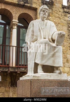 Cordoba, Spain.  Statue of Ibn Rushd, Abū l-Walīd Muḥammad Ibn, ʾAḥmad Ibn Rushd, 1126 –  1198, aka Averroes.  Medieval - Stock Photo