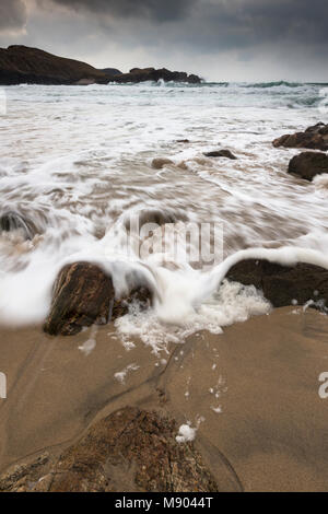 Atlantic storm beach at Mangursta on the Isle of Lewis in the Outer Hebrides. - Stock Photo