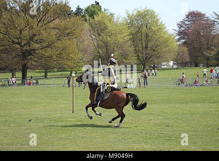 Military enthusiasts on horse back in 12th Light Dragoons uniform, re enact the Battle of Waterloo - Stock Photo