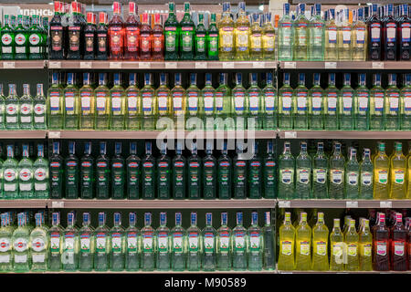 Kiev, Ukraine. February 1 2018. Shelves in a store with bottles of vermouth - Stock Photo