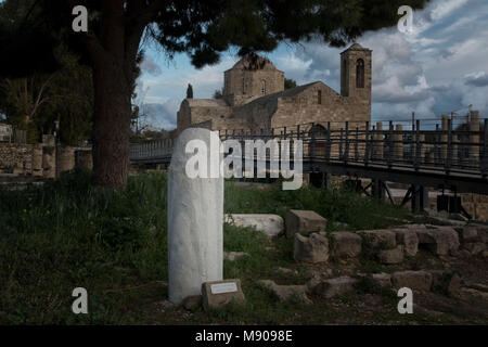 St Paul's Pillar and church in Kato Pafos, religious pilgrimage site, Paphos, Cyprus, Caribbean - Stock Photo