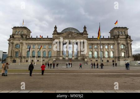 Reichstag building, Berlin, Germany. 13 March 2018. General view of the Reichstag building, Platz Der Republik, - Stock Photo