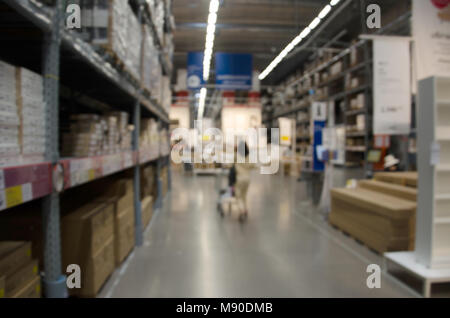 Abstract Blurred Storage Warehouse Logistics Boxes - Stock Photo