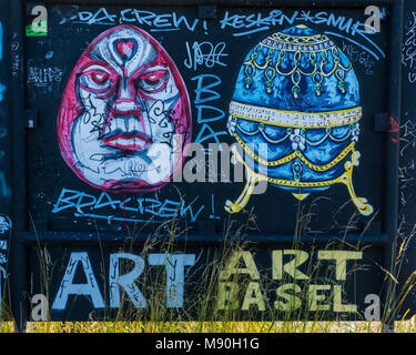 BASEL, SWITZERLAND - JUNE 8, 2017: Impressive art graffiti on the streets of Basel, the facades and corners of the - Stock Photo
