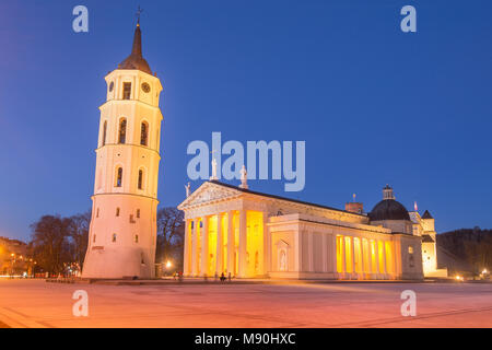 Vilnius - Lithuania. View of the Vilnius Cathedral at Dusk. - Stock Photo