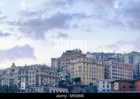 Buildings with multitude of architectural styles in the San Teodoro residential district of Genoa, seen from the Piazza Principe railway station in the - Stock Photo