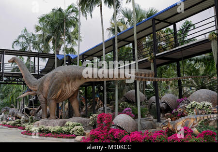Pattaya,Thailand- February 23,2018: Apatosaurus in the park of Madame Nong Nooch - Stock Photo