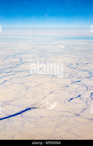 View from Virgin Atlantic on the way from Gatwick, North terminal to Las Vegas looking out of the window from 35,000 ft. - Stock Photo