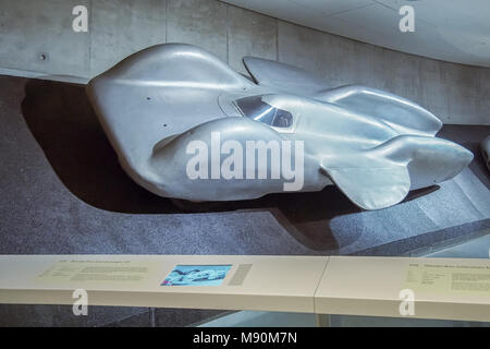 STUTTGART, GERMANY-APRIL 7, 2017: 1939 Mercedes-Benz T 80 world record car in the Mercedes Museum. The car was designed by Ferdinand Porsche - Stock Photo